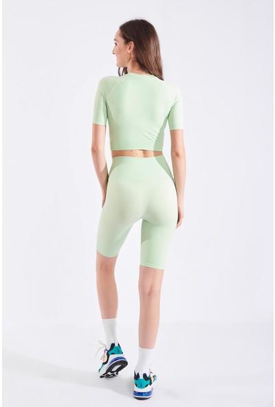Echerchi Yeşil Kadın Ikili Kısa Fitness Takım