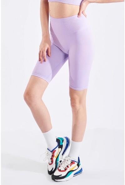Echerchi Lila Kadın Ikili Kısa Fitness Takım