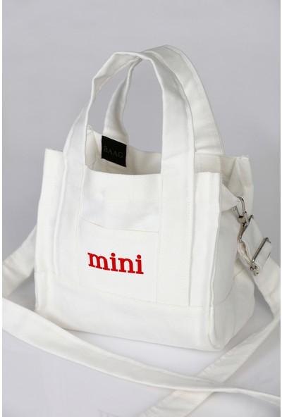 Baag İstanbul Tasarım Pamuklu Beyaz Kanvas Mini Postacı Çanta
