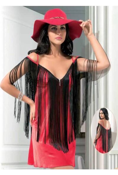 Dalinda Kadın Fantazi Saten Iç Giyim Gecelik Püskül Detaylı Kostüm 1060