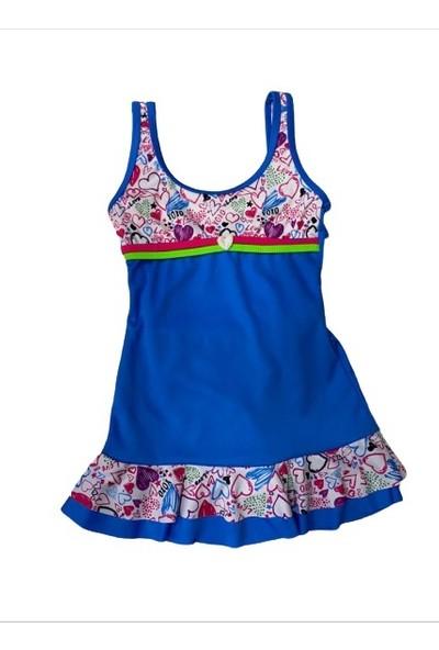 Sam Kız Çocuk Yüzücü Elbise Mayo Mavi 23082