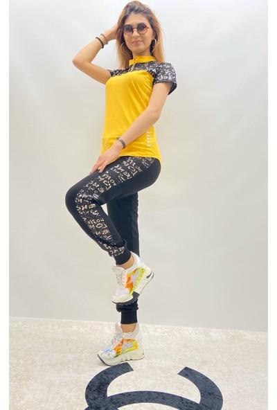 Tatu Kadın Kısa Kol Eşofman Takımı 6229 Sarı