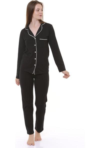 Besimma Siyah Penye Kadın Pijama Takımı
