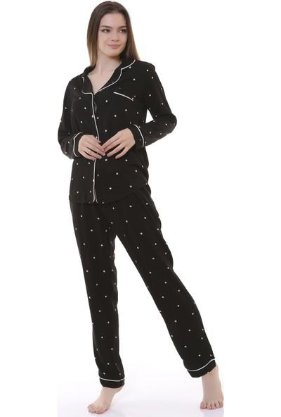 Besimma Siyah Yıldız Kadın Pijama Takımı