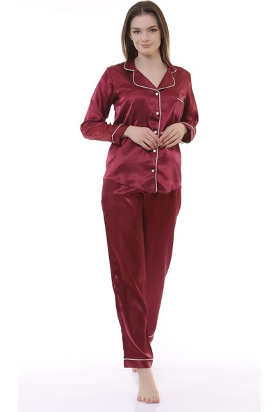 Besimma Bordo Saten Kadın Pijama Takımı
