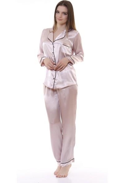 Besimma Pudra Saten Kadın Pijama Takımı