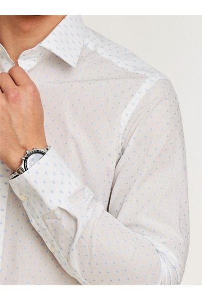 Chamis France Slimfit Beyaz Mavi Desenli Klasik Yaka Gömlek