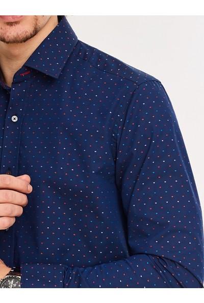 Chamis France Slimfit Lacivert Üzeri Puantiyeli Klasik Yaka Gömlek