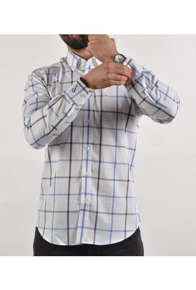 Chamis France Slimfit Beyaz Mavi Ekose Düğmeli Yaka Gömlek