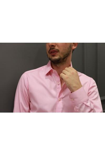 Chamis France Slimfit Pembe Saten Klasik Yaka Gömlek