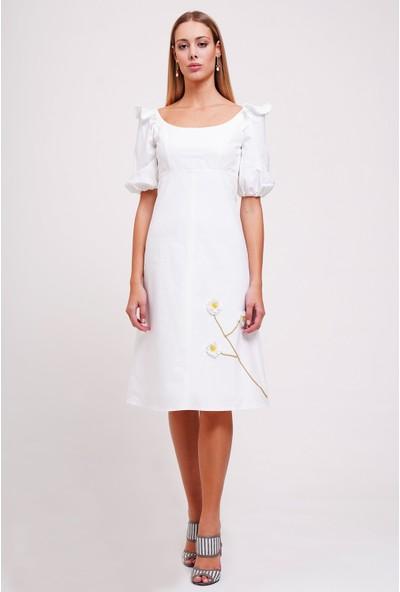 Utopian Regular Fit Koton Çiçekli Midi Elbise-Beyaz
