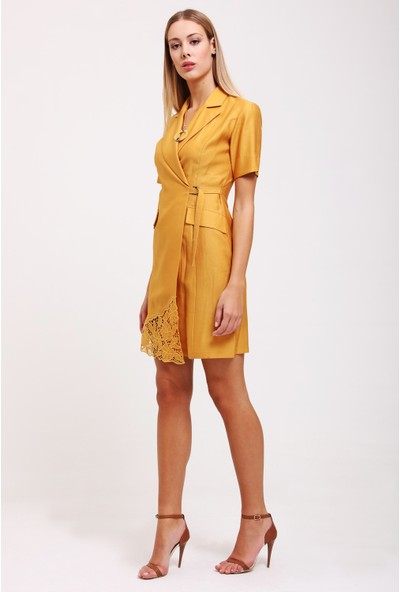 Utopian Beli Anvelop Kısa Ceket Elbise-Sari