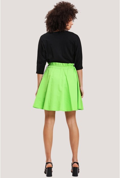 Utopian Regular Fit Bel Büzgülü Elbise-Siyah-Yeşil