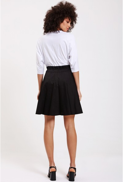 Utopian Regular Fit Bel Büzgülü Elbise-Beyaz-Siyah