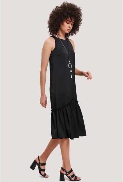 Utopian Regular Fit Kolsuz Elbise-Siyah