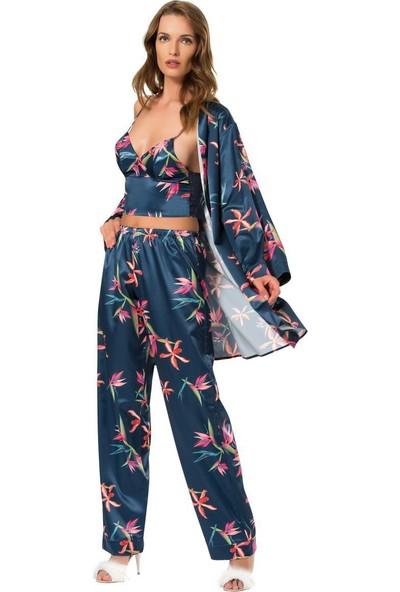 Moongirl Saten 3'lü Pijama Sabahlık Takım 2164