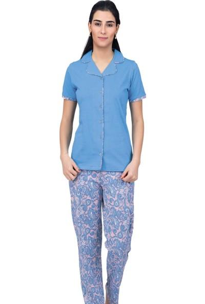 Çift Kaplan 7457 Boydan Düğmeli Kadın Pijama Takım