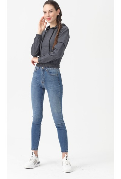 Akbaba Moda Kadın Sweat Antrasitmelanj