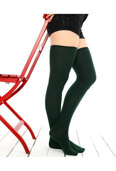 Brogetti Yeşil Diz Üstü Çorap Victoria Jartiyer Boy 36 - 40