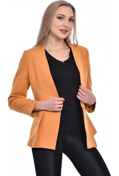 Modkofoni Düğme ve Pile Detaylı Blazer Hardal Ceket