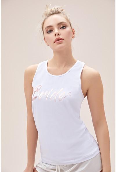 Oleg Cassini Beyaz Askılı Bride T-Shirt