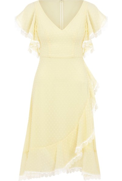 Oleg Cassini Sarı Fırfırlı Kısa Kollu Şifon Midi Abiye Elbise