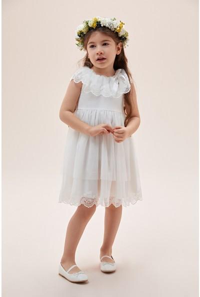 Oleg Cassini Beyaz Yakası Dantel Işlemeli Çocuk Elbisesi