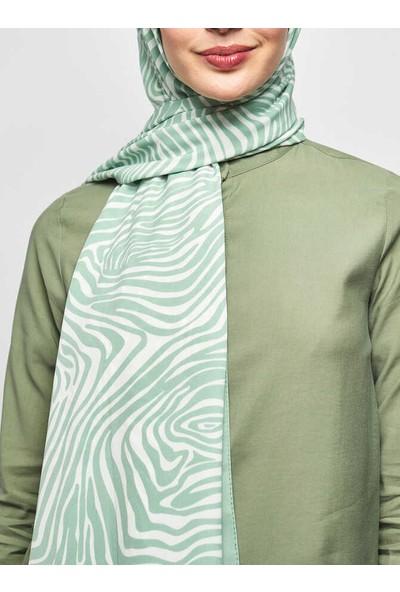 Modakaşmir Inci Serisi Mint Zebra Desenli Şal