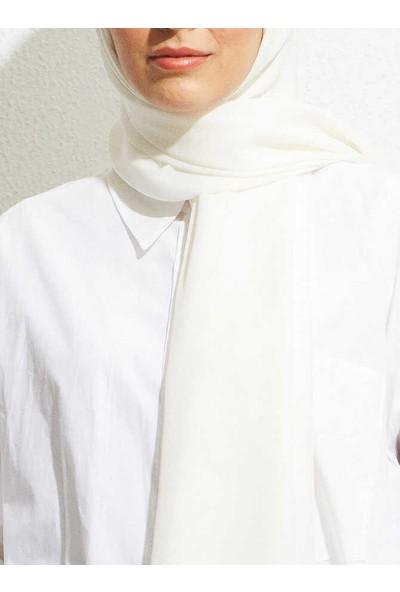 Modakaşmir Misa Medine Ipeği Şal Beyaz