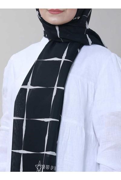 Modakaşmir Superstar Line Desenli Şal Siyah Beyaz
