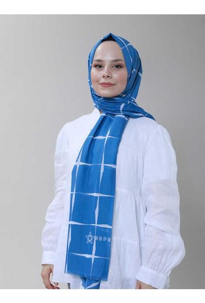 Modakaşmir Superstar Line Desenli Şal Indigo Beyaz