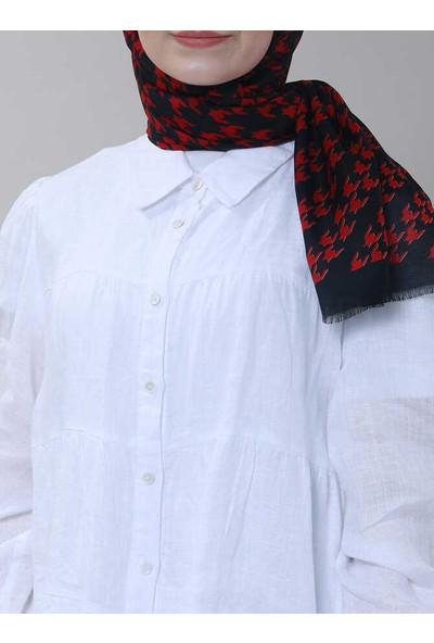 Modakaşmir Superstar Kazayağı Desenli Şal Siyah Kırmızı