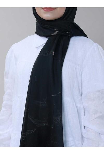 Modakaşmir Superstar Batik Desenli Şal Siyah Vizon