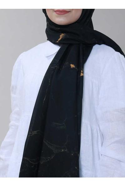 Modakaşmir Superstar Batik Desenli Şal Siyah Hardal