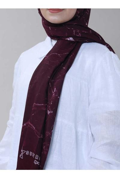 Modakaşmir Superstar Batik Desenli Şal Mürdüm Beyaz