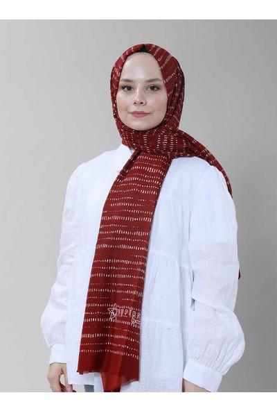 Modakaşmir Superstar Punto Desenli Şal Kırmızı Beyaz