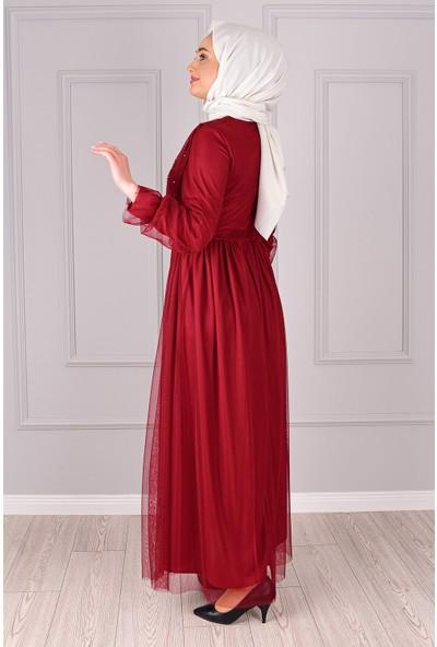 Lida Moda Incili Tül Abiye Elbise Bordo
