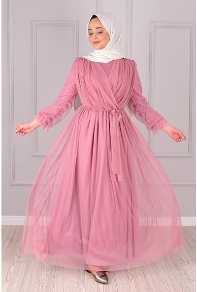 Lida Moda Incili Tül Abiye Elbise Pudra