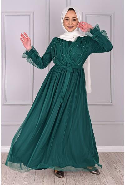 Lida Moda Incili Tül Abiye Elbise Yeşil