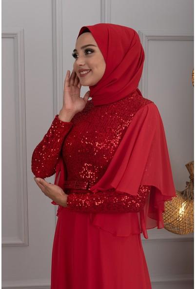 Lida Moda Kol Detaylı Abiye Elbise Kırmızı