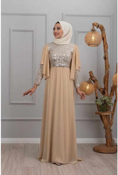 Lida Moda Kol Detaylı Abiye Elbise Krem