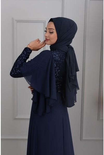 Lida Moda Kol Detaylı Abiye Elbise Lacivert
