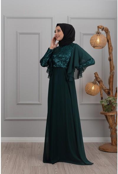 Lida Moda Kol Detaylı Abiye Elbise Zümrüt