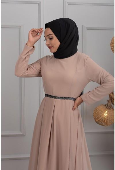 Lida Moda Pul Kemerli Abiye Elbise Krem