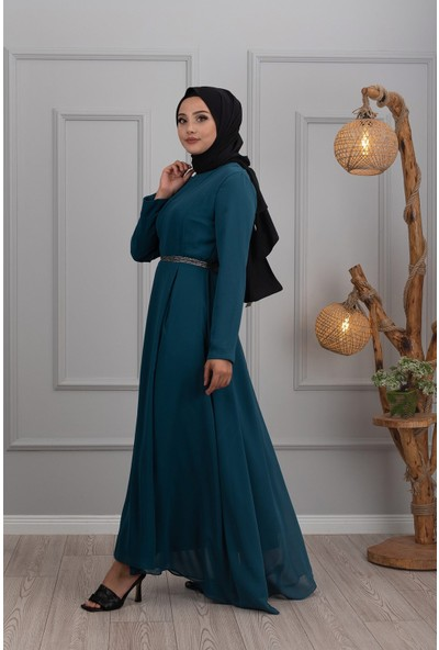 Lida Moda Pul Kemerli Abiye Elbise Petrol
