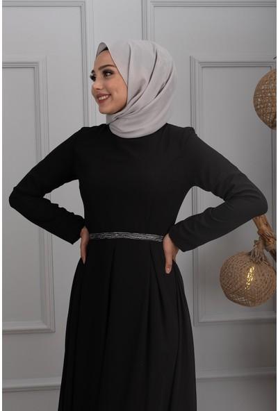 Lida Moda Pul Kemerli Abiye Elbise Siyah