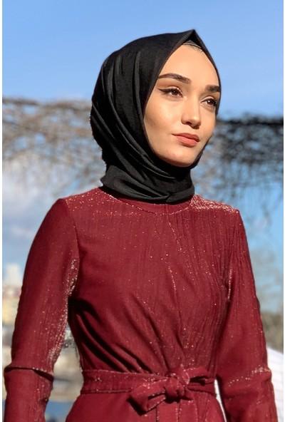 Lida Moda Simli Eteği Fırfırlı Abiye Tesettür Elbise Bordo