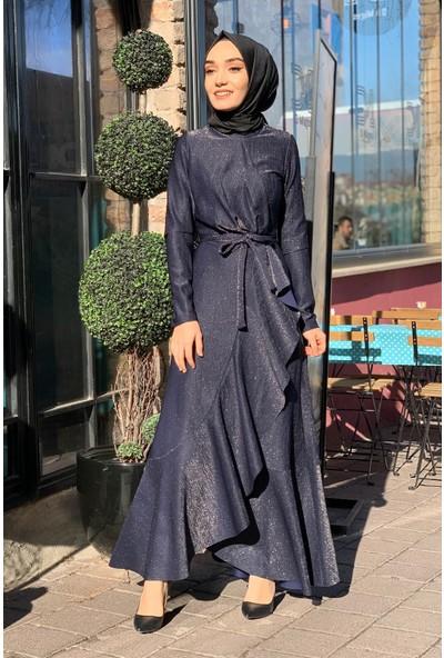 Lida Moda Simli Eteği Fırfırlı Abiye Tesettür Elbise Lacivert