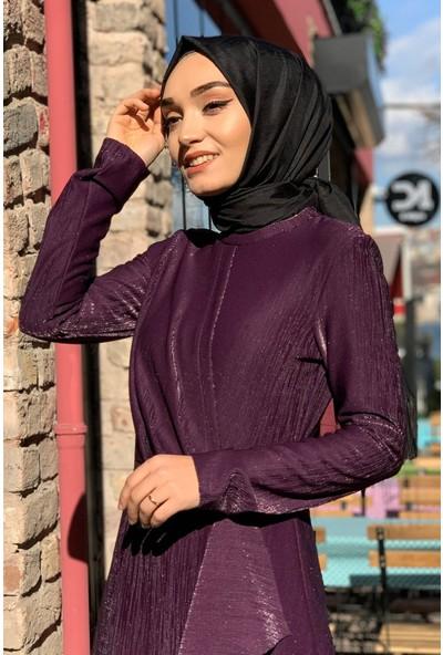 Lida Moda Simli Eteği Fırfırlı Abiye Tesettür Elbise Mor