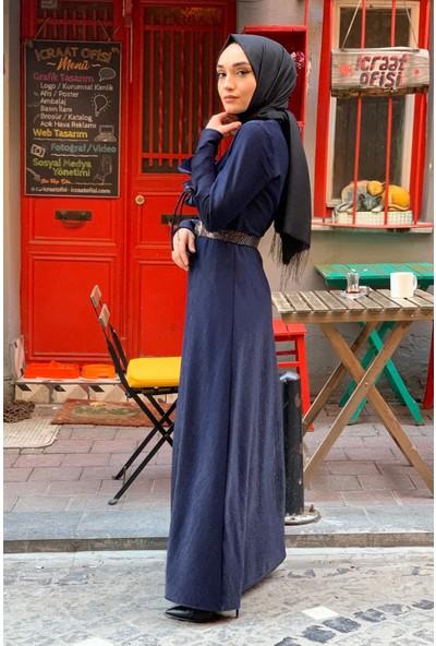 Lida Moda Simli Kol Detaylı Abiye Tesettür Elbise Lacivert